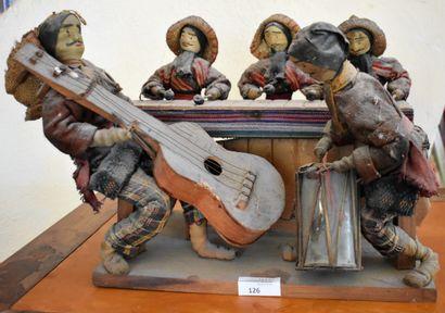 MAQUETTE d'orchestre en bois et tissu (accidents...
