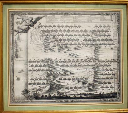 GRAVURE imprimée en noir : Bataille des dunes,...