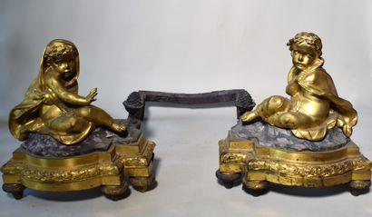 PAIRE DE CHENETS en bronze doré et marbre...
