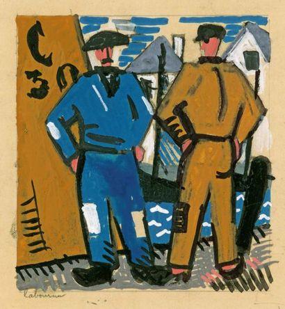 Pêcheurs bretons. 1923 (L., t.3, 337) Gouache...