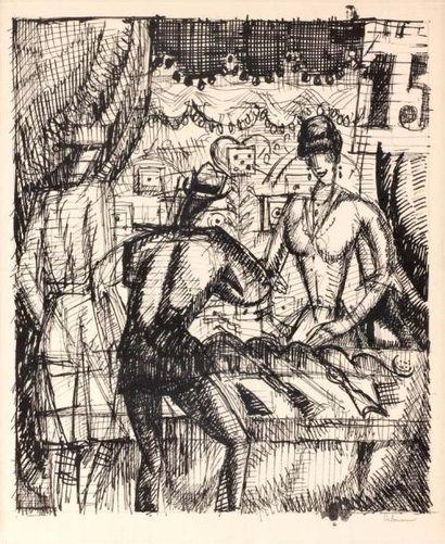 Le Tir forain. 1920 Plume signée au crayon,...
