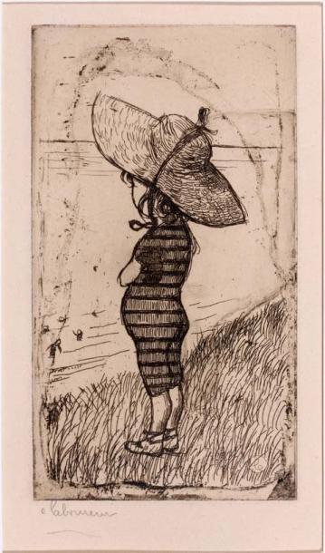 Petite baigneuse au chapeau. 1898 Eau-forte...