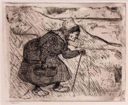Vieille pêcheuse de moules. 1897 Eau-forte...