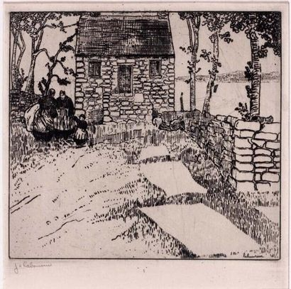 Maison en Bretagne. 1908 Eau-forte sur zinc...
