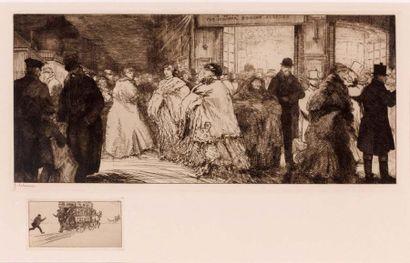 Sortie de théâtre à Londres. 1911 Eau-forte...