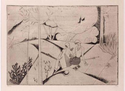 Les Amants au bois. 1913. Eau-forte (L. 122)....