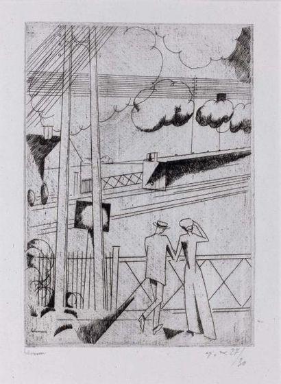 Le Passage à niveau. 1913 Eau-forte (L. 123)....