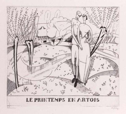 Le Printemps en Artois. 1916. Burin (L. 153)....