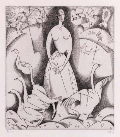 La Fille aux oies. 1916. Burin (L. 159)....