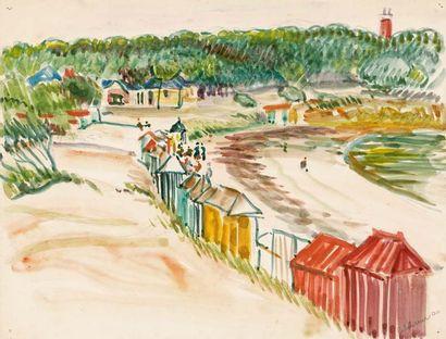 Plage à Noirmoutier. 1900 (L. t.3, 184) Aquarelle...