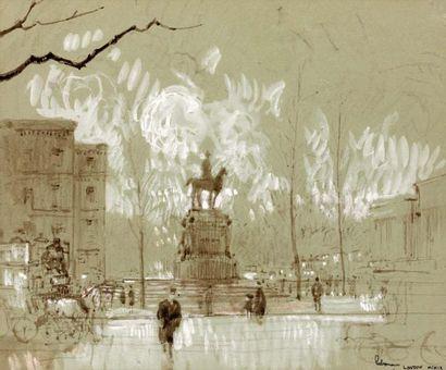 Londres. 1909 Lavis rehaussé à la craie blanche...