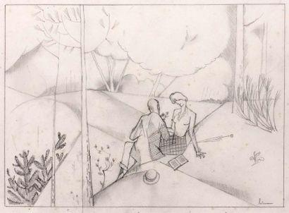 Les Amants au Bois. 1913 Crayon signé en...