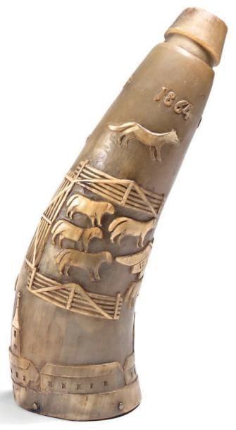 Corne de berger à jus de tabac gravée en taille d'épargne. Elle figure un berger,...