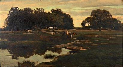 Eugène LAVIEILLE L'Abreuvoir, 1860. Peinture...