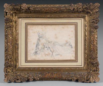 Antoine WATTEAU (1684-1721) Femme allongée sur un coude tenant un éventail Crayon...