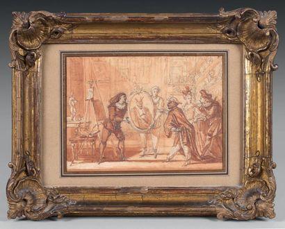Claude GILLOT (1673-1722) Le Portrait d'Arlequin en procureur; scène ajoutée pour...