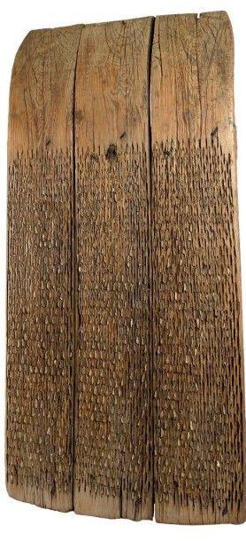 Traîneau à dépiquer dit tribulum en pin garni...