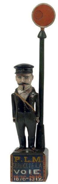 Portrait d'un cheminot du PLM Statuette en...