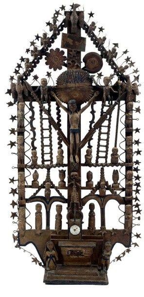 Spectaculaire croix de la Passion en bois...