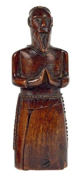 Tabatière en orme, sculptée d'un moine en...