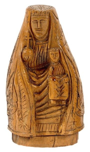 Statuette d'une Vierge à l'enfant en buis...
