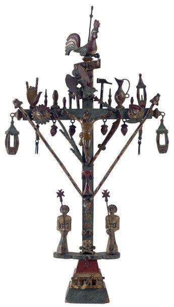 Petite croix de marinier du Rhône en bois...
