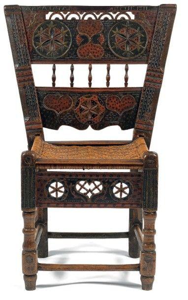 Chaise de fiancée en hêtre à décor polychrome....