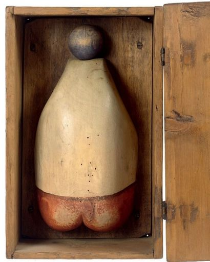 Fanny en boîte en bois polychrome, associant...