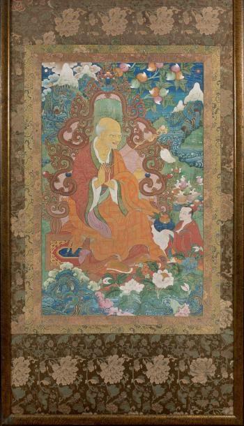 Grande thangka en couleurs et rehauts or sur textile, représentant Yan lag 'byung...