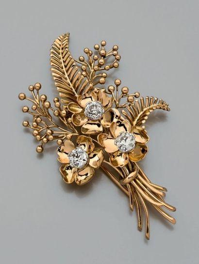 Clip de corsage en or jaune 18 ct (750) et...