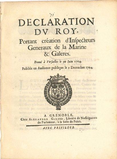 GALÈRES. 8 imprimés, 1547-1732; in-4. Lettres,...