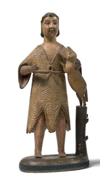 Statue de saint Jean-Baptiste en bois sculpté...