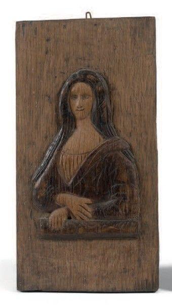 Portrait de la Joconde en chêne sculpté en...