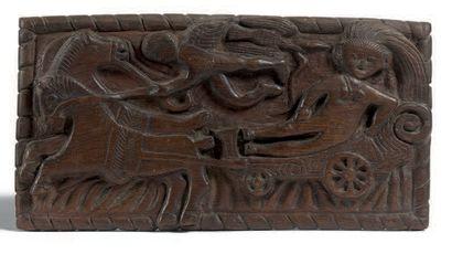 Vénus sur son char. Bas-relief en chêne sculpté...