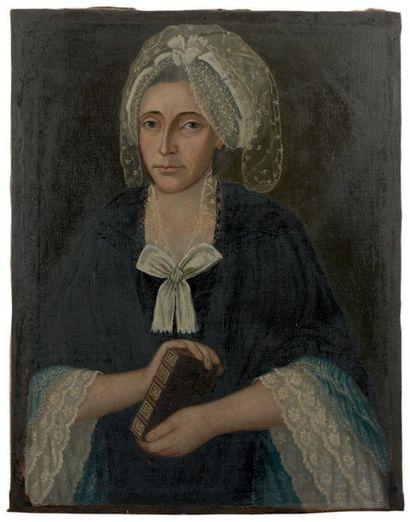 Portrait d'une femme au livre de piété Huile...