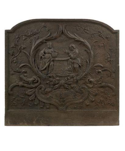 Plaque de cheminée en fonte de fer, représentant...