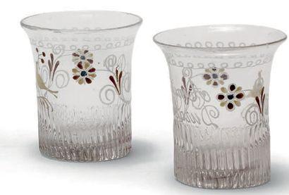 Deux gobelets normands en verre soufflé,...