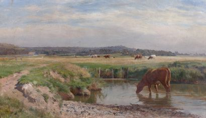 Attribué à Jules GIRARDET (1856-1946) Vaches...