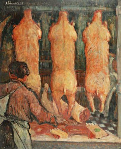 L'Etal. 1898 Huile sur carton signée « e...