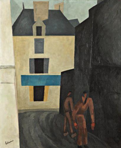 La Ruelle. 1922 Huile sur toile signée en...