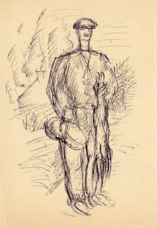 Le Lièvre. Vers 1926 Dessin à la plume signé...
