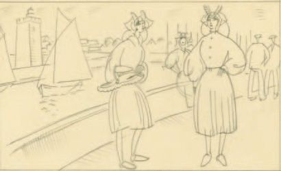 Les Sablaises. 1935 Dessin original à la...