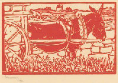 L'Ane attelé. 1896 Bois imprimé en rouge...