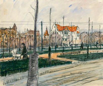 Une rue à Dresde. 1899 Dessin à la mine de...