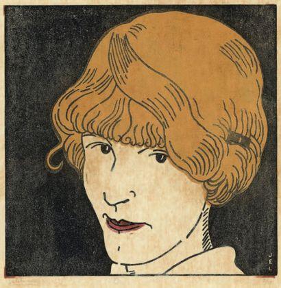 Masque aux cheveux d'or. 1912 Bois en couleurs...