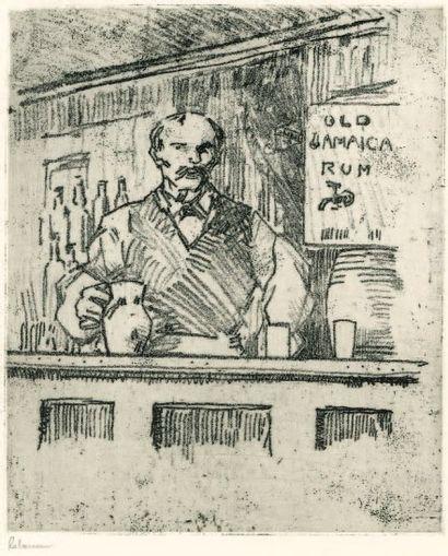 Bar Tender, Londres. 1909 Vernis mou sur...