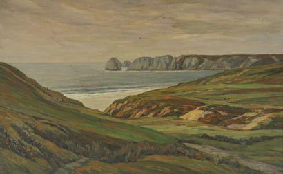 André DAUCHEZ (1870-1948) Paysage en bord de mer Toile signée en bas à gauche, datée...