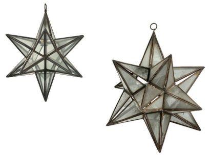 Deux suspensions en métal et verre de forme...