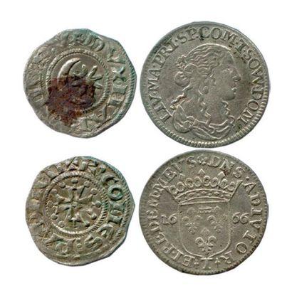 Lot de deux monnaies féodales en argent:...