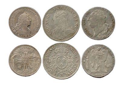 Lot de trois monnaies royales françaises...